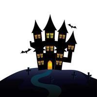 spookachtig kasteel van halloween op begraafplaats