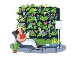 kamerplanten, huisgezelligheid 2d vector webbanner, poster