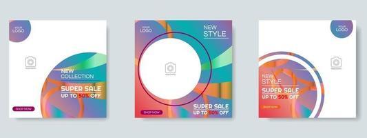 mode verkoop sociale media post ontwerpsjabloon. webbanner vector