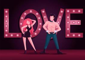 mannelijke en vrouwelijke stripdansers egale kleur vectorillustratie