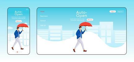 auto open paraplu landingspagina egale kleur vector sjabloon