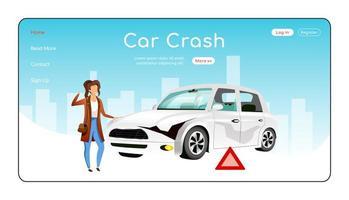 auto-ongeluk bestemmingspagina egale kleur vector sjabloon