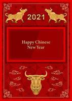 metalen gouden stier, os op rode patroonachtergrond 2021 vector