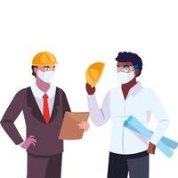 mannen ingenieur en uitvoerende macht met masker
