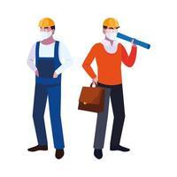 operator en architect met masker en helm