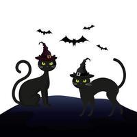 katten katachtig halloween met hoed heks en vleermuizen vliegen vector