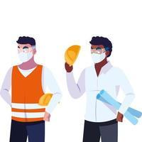 architect en exploitant met masker vectorillustratie