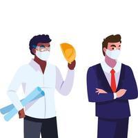 mensen ingenieur en uitvoerend met masker