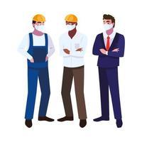 operators in de industrie die gezichtsmaskers op het werk dragen