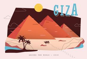 Prentbriefkaarpiramide bij de Vectorillustratie van Giza vector