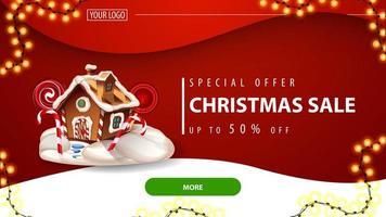 speciale aanbieding, kerstuitverkoop, tot 50 korting, rode kortingsbanner voor website met rode achtergrond, groene knop en kerst peperkoekhuis