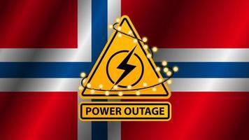stroomstoring, geel waarschuwingsbord omwikkeld met slinger op de achtergrond van de vlag van noorwegen