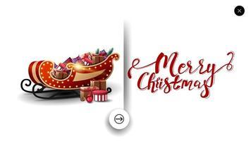 vrolijk kerstfeest witte wenskaart in minimalistische stijl voor website met kerstman slee met cadeautjes vector
