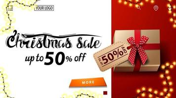 kerstuitverkoop, tot 50 korting, witte en rode kortingsbanner voor website met cadeau met prijskaartje, bovenaanzicht