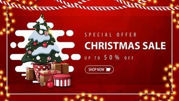 speciale aanbieding, kerstuitverkoop, tot 50 korting, rode kortingsbanner met abstracte vloeibare vorm, slinger en kerstboom in een pot met geschenken