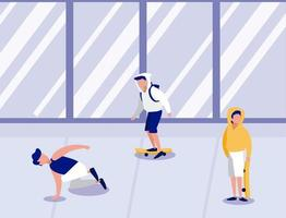 jonge man rijden op een skateboard buitenshuis vector illustratie ontwerp
