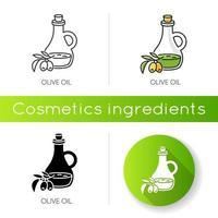 olijfolie pictogram. veganistisch onderdeel. exfoliërend en hydraterend effect voor huidverzorging. vector