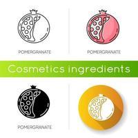 granaatappel pictogram. natuurlijke exfoliant. gesneden fruit met zaden. vector