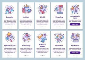 archeologie onboarding mobiele app-paginascherm met lineaire concepten ingesteld. vector