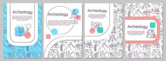 archeologie brochure sjabloon. paleontologie en geschiedenis. flyer, boekje, folder afdrukken, omslagontwerp met lineaire pictogrammen. vector