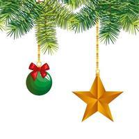 kerstbal met ster hangende decoratie