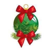 bal kerst met boog decoratie geïsoleerde pictogram vector