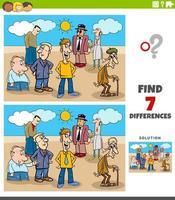 verschillen educatieve taak met cartoon mensen vector