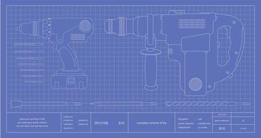 boor, hamer boor en bits ingenieur blauwdruk vector