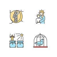 bijbelverhalen gekleurde pictogrammen instellen. herrezen lazarus, maagd Maria met zoon Jezus, geschenken van de magiërs, duif in kooi. Paasweek. vector