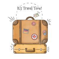 Pak koffers met postzegels Reis naar zomerseizoen vector