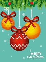 vrolijk kerstfeest poster met decoratieve ballen opknoping vector