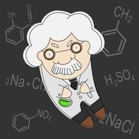 oude cartoon stijl professor vector