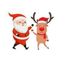 rendier met kerstman karakters vrolijk kerstfeest vector