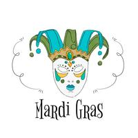 Aquarel Braziliaanse masker aan Mardi Gras