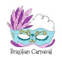 Aquarel Braziliaanse masker aan Carnaval