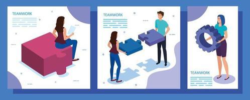 werk teamscènes instellen met mensen en pictogrammen