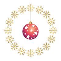 bal kerst met sterren in frame circulaire van sneeuwvlokken