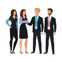 zakenmensen die avatar karakter ontmoeten