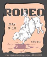 rodeo partij flyer ontwerpsjabloon vector
