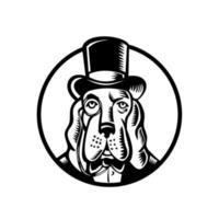 basset hond met monocle en hoge hoed cirkel zwart en wit vector