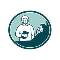 verpleegster die covid-19 patiënt ovaal retro behandelt vector