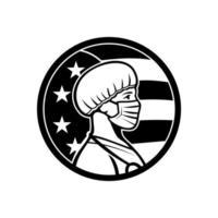 amerikaanse verpleegster met masker kant usa vlag mascotte vector