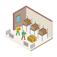 isometrisch magazijn geïllustreerd op witte achtergrond