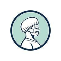 vrouwelijke verpleegster die gezichtsmasker draagt zijprofielmascotte vector