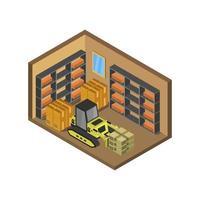 isometrisch magazijn geïllustreerd op witte achtergrond vector