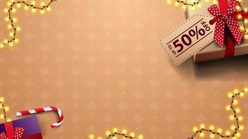 kerstsjabloon voor uw kunsten met cadeautjes, prijskaartje en slinger, bovenaanzicht vector