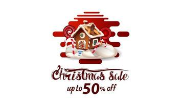 kerstuitverkoop, tot 50 korting, mooie witte en rode kortingsbanner in lavalampstijl met vloeiende lijnen en kerst peperkoekhuis