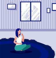 vrouw in de woonkamer, thuis blijven vector