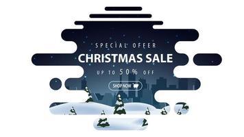 speciale aanbieding, kerstuitverkoop, tot 50 korting, mooie witte en blauwe kortingsbanner in lavalampstijl met vloeiende lijnen en winterlandschap