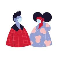 man en vrouw avatar cartoon met masker en pullover vector design